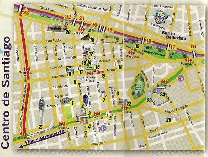 TRAVEL CHILE SITE MAP OF Centro de Santiago and Neighborhood